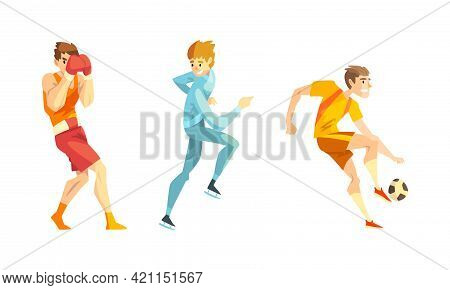 Professional Athletes Doing Sports Set, Male Boxer, Short Track Speed Skater, Soccer Player Cartoon