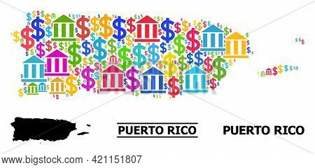 Bright Colored Bank And Business Mosaic And Solid Map Of Puerto Rico. Map Of Puerto Rico Vector Mosa