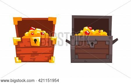Treasure Chests Set, Opened Old Chest With Gold And Precious Stones Cartoon Vector Illustration