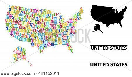 Bright Colored Finance And Economics Mosaic And Solid Map Of Usa And Alaska. Map Of Usa And Alaska V