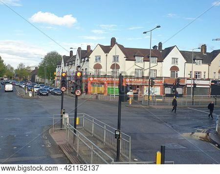 LONDON, UK - 18th May 2021: Road crossings at Martins corner in Dagenham, East London.