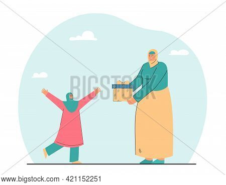Cartoon Woman Giving Present To Little Girl. Flat Vector Illustration. Mother And Daughter With Cove