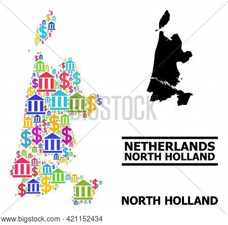 Bright Colored Finance And Dollar Mosaic And Solid Map Of North Holland. Map Of North Holland Vector