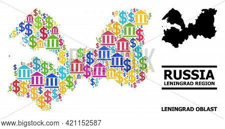 Bright Colored Bank And Economics Mosaic And Solid Map Of Leningrad Region. Map Of Leningrad Region