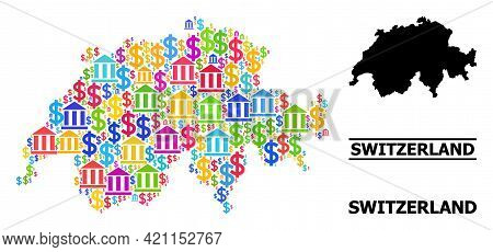 Colorful Bank And Dollar Mosaic And Solid Map Of Switzerland. Map Of Switzerland Vector Mosaic For A