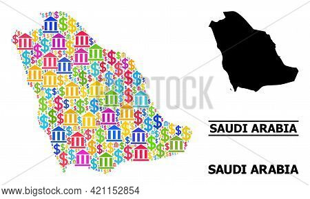 Colored Bank And Business Mosaic And Solid Map Of Saudi Arabia. Map Of Saudi Arabia Vector Mosaic Fo