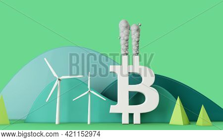 Bitcoin Environmental Impact. Pollution From A Bitcoin Logo. 3d Rendering