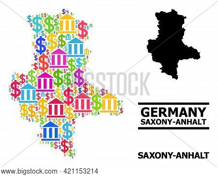 Bright Colored Bank And Commerce Mosaic And Solid Map Of Saxony-anhalt State. Map Of Saxony-anhalt S
