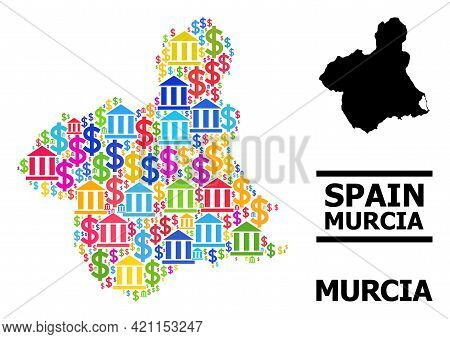 Colored Finance And Dollar Mosaic And Solid Map Of Murcia Province. Map Of Murcia Province Vector Mo