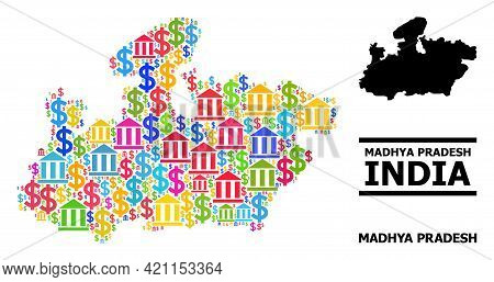 Bright Colored Bank And Commercial Mosaic And Solid Map Of Madhya Pradesh State. Map Of Madhya Prade