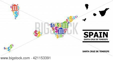 Bright Colored Bank And Commercial Mosaic And Solid Map Of Santa Cruz De Tenerife Province. Map Of S
