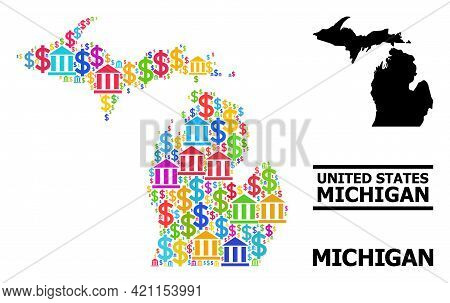 Colored Bank And Dollar Mosaic And Solid Map Of Michigan State. Map Of Michigan State Vector Mosaic