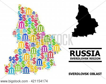 Colored Bank And Dollar Mosaic And Solid Map Of Sverdlovsk Region. Map Of Sverdlovsk Region Vector M