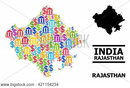 Colored Bank And Business Mosaic And Solid Map Of Rajasthan State. Map Of Rajasthan State Vector Mos