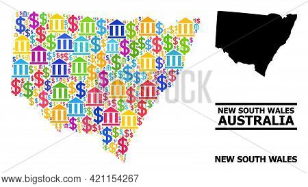 Bright Colored Bank And Dollar Mosaic And Solid Map Of New South Wales. Map Of New South Wales Vecto