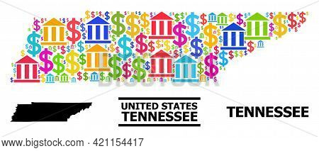 Bright Colored Financial And Commerce Mosaic And Solid Map Of Tennessee State. Map Of Tennessee Stat
