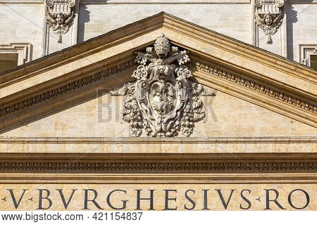 Vatican, Rome, Italy - October 9, 2020: Coats Of Arms Of The Holy See And Vatican City On Facade Of