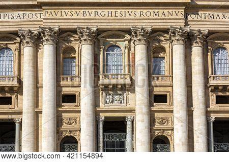 Vatican, Rome, Italy - October 9, 2020: Facade Of  Saint Peter's Basilica. Balcony Called The The Bl