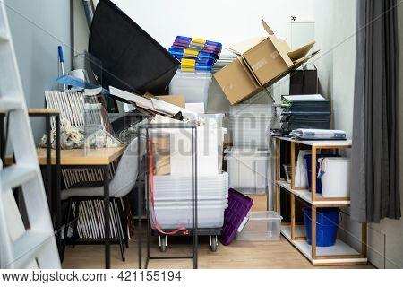 Messy Storage Closet Full Of Junk. Hoarder Stuff