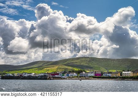Portmagee Village And Harbour, View From The Sea, Located At The Edge Of Atlantic Ocean, Ring Of Ker