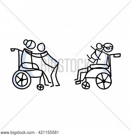 Drawn Stick Figure Of Grandparents Hugging Grandchild In Wheelchair. Elderly Embrace Together Suppor
