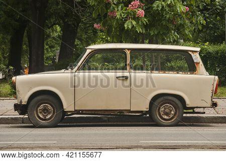 Old Vintage Abandoned Neglected Trabant Car Closeup