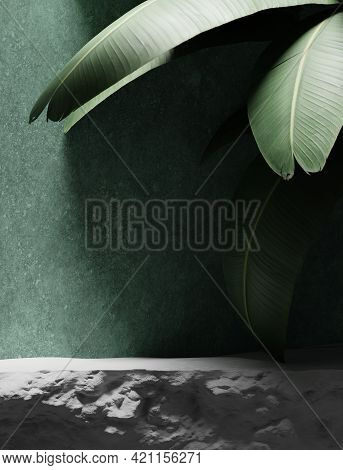 3d Background With Stone Podium Display. Nature Rock Pedestal With Tropical Palm Leaf And Shadow On