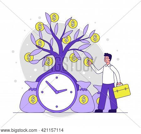 Male Character Is Collecting Golden Coins From Tree Near Clock. Man Is Aware Of Business Timing And