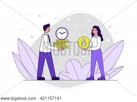 Male And Female Characters Are Giving Each Other Money And Business Timing. Man And Woman Are Adjust