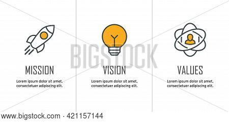 Mission Vision & Values Icon Set With Mission Statement, Vision Icon, Etc