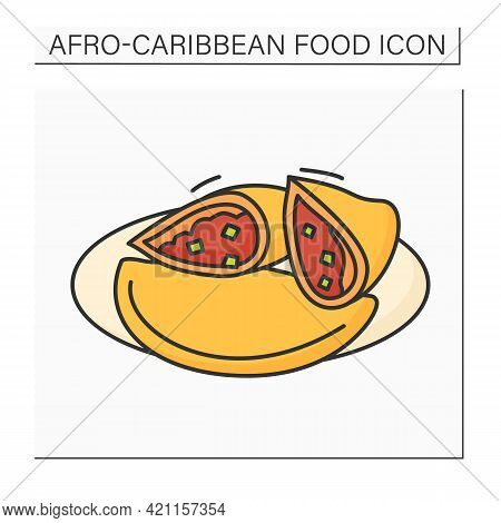 Afro-caribbean Food Color Icon. Meat Pie. Tart With Chunky Meat Filling. Traditional Dish. Local Foo
