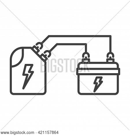 Battery Charging Icon From A Mobile Canister. Simple Line Drawing Of A Car Battery Powered By A Cani