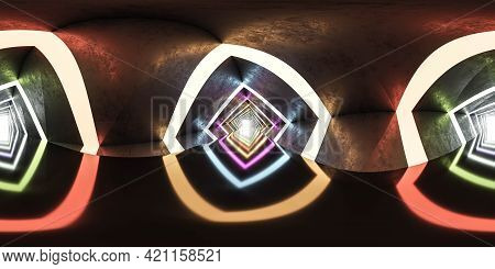 Full 360 Spherical Panorama View Of Concerete Tunnel With Colouful Neon Lighting 3d Render Illustrat