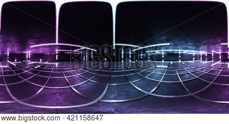 Full 360 Degree Spherical Panorama View Of Industrial Futuristic Product Showcase With Spotlight Wit