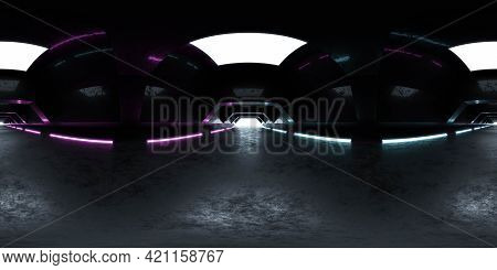 Full 360 Degree Spherical Panorama View Of Modern Futuristic Abstract Tunnel With Neon Lighting 3d R