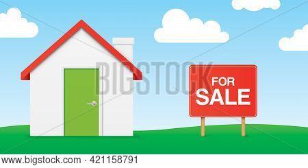 House For Sale, Horizontal Banner Vector Design.