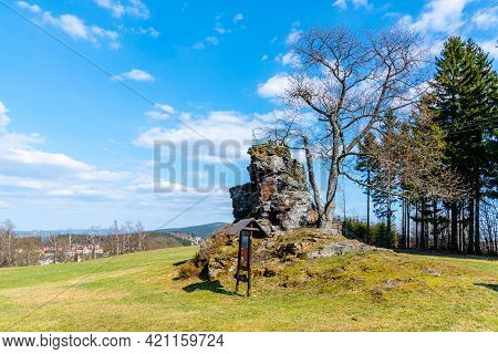Small Rock Lookout Point, Schnuppstein, On Sunny Day In Dobra Voda, Jablonec Nad Nisou, Czech Republ
