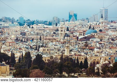 Jerusalem, Israel, 01.01.2018: Panoramic View Of Jerusalem. The Church Of The Holy Sepulchre, Houses
