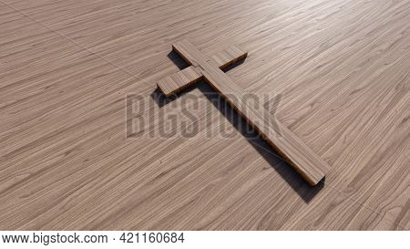 Concept or conceptual cross on a natural wood or wooden background. 3d illustration metaphor for God, Christ, Christianity, religious, faith, holy, spiritual, Jesus, belief, resurection