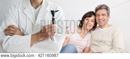 Audiology Hearing Care Medical Doctor With Otoscope