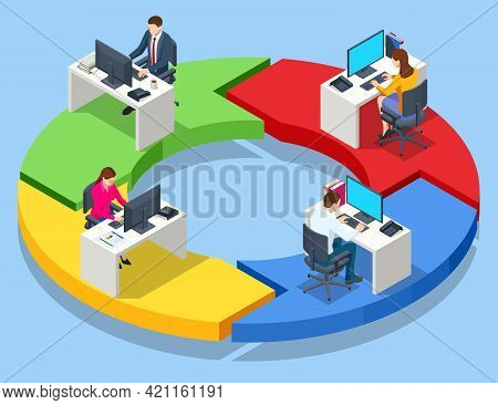 Isometric Expert Team For Data Analysis, Business Statistic, Management, Consulting, Marketing. Inve