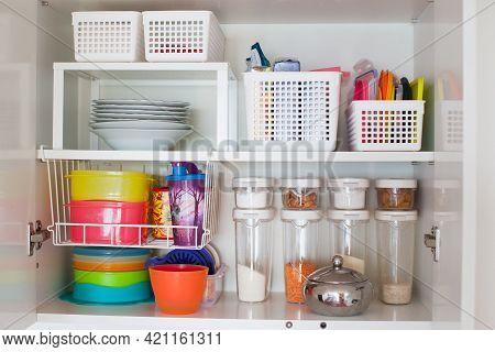 Storage In The Kitchen. Home Organization Idea.