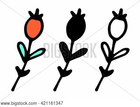Line Art Black Pattern On Colorful Background. Hand Drawn Illustration. Strawberry Isolated. Nature