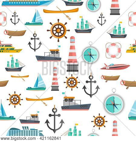 Nautical Symbols Vintage Icons Seamless Tileable Pattern With Beacon Anchor Compass And Sailboats Ab
