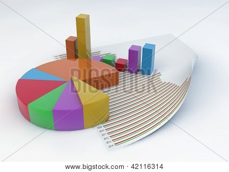 3D Pie Chart And Bars With A Statistic Document Paper Isolated On White Background