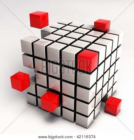 Abstract Cube Illustration - Red Cubes Separating From Single Cube Mesh