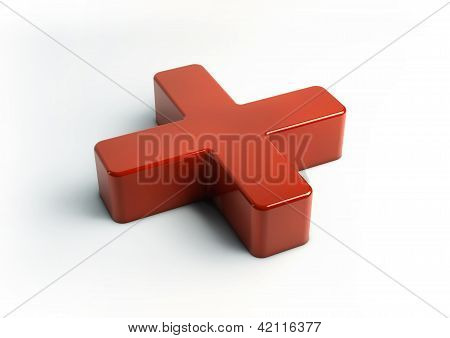 First Aid Three Dimensional Sign Isolated On Clean White Background