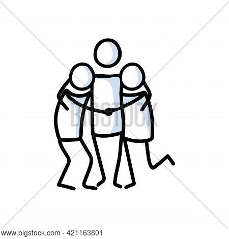 Drawn Stick Figure Of 3 Friends Hugging. Support Of Young People Embrace Together Illustrated Vector