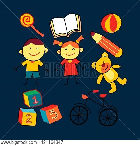 Vector Illustration Of Hand Drawn Set Of Kindergarten Doodle Theme. Isolated On Blue Background. Kid