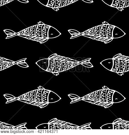 Vector Seamless Pattern Of Fish In Different Directions. Hand-drawn Doodle-style Small Long-shaped F